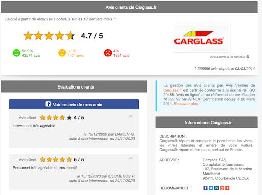 Page Avis vérifiés Carglass