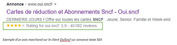 Exemple d'un avis marchand sur le client OuiSncf sur annonce texte SEA