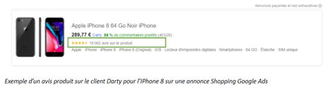 Exemple d'un avis produit sur le client Darty pour l'IPhone 8 sur une annonce Shopping Google Ads