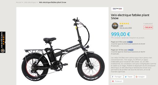 Exemple de Vélobécane qui intègre les avis clients sur son site e-commerce