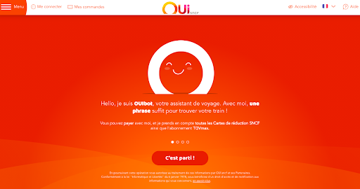 """Exemple du chatbot """"Ouibot"""" de OUISncf"""