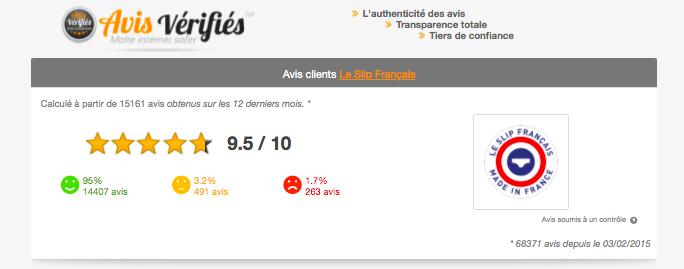 Page attestation avis vérifiés Slip français