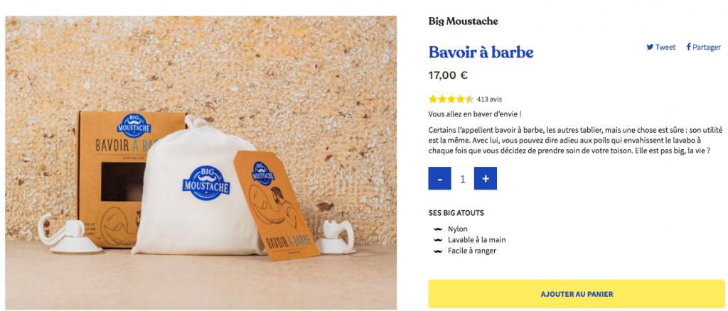Page produit Big moustache avis produits étoiles