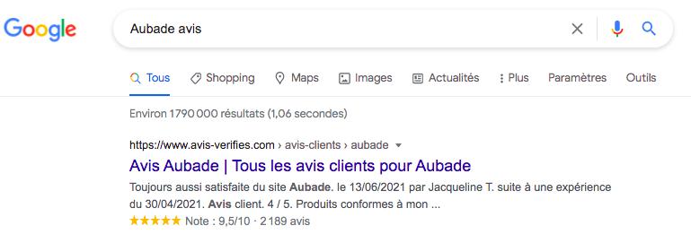 résultat google page avis vérifiés Aubade