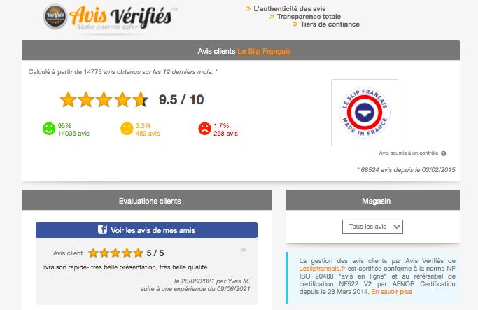 Page avis verifies Slip français