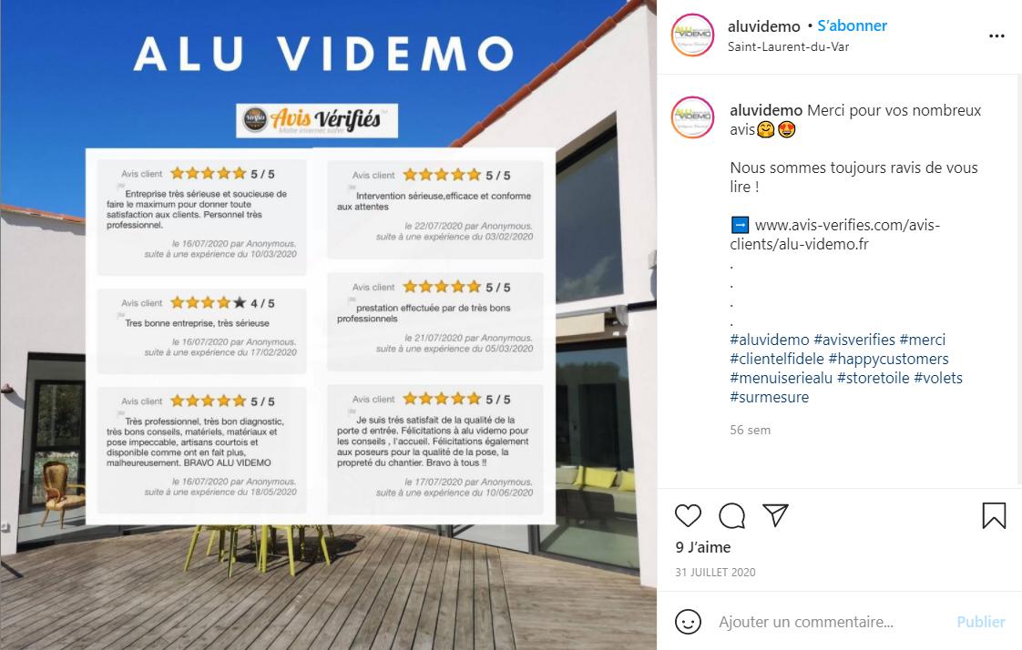 Aluvidemo avis verifies instagram