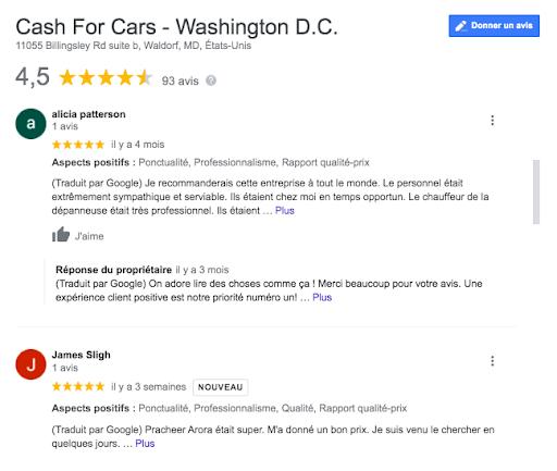 Avis Google Cash for Cars